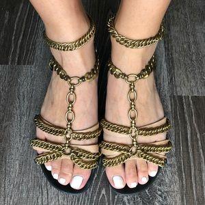 Lanvin Chain-trimmed Black Leather Sandals Size 7